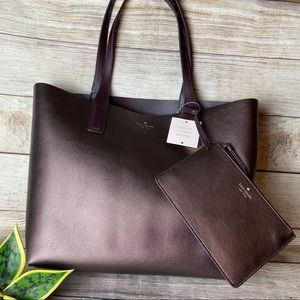 NWT Kate Spade Arch Leather Tote in Metallic Pecan